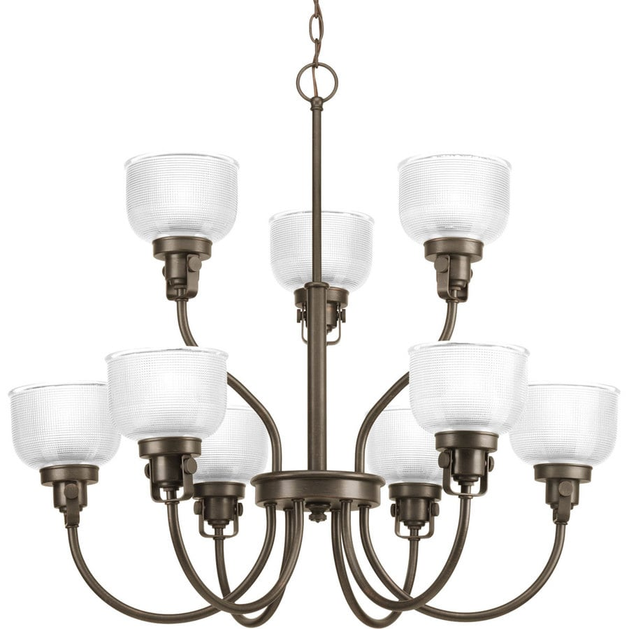 Progress Lighting Archie 30-in 9-Light Venetian Bronze Clear Glass Tiered Chandelier