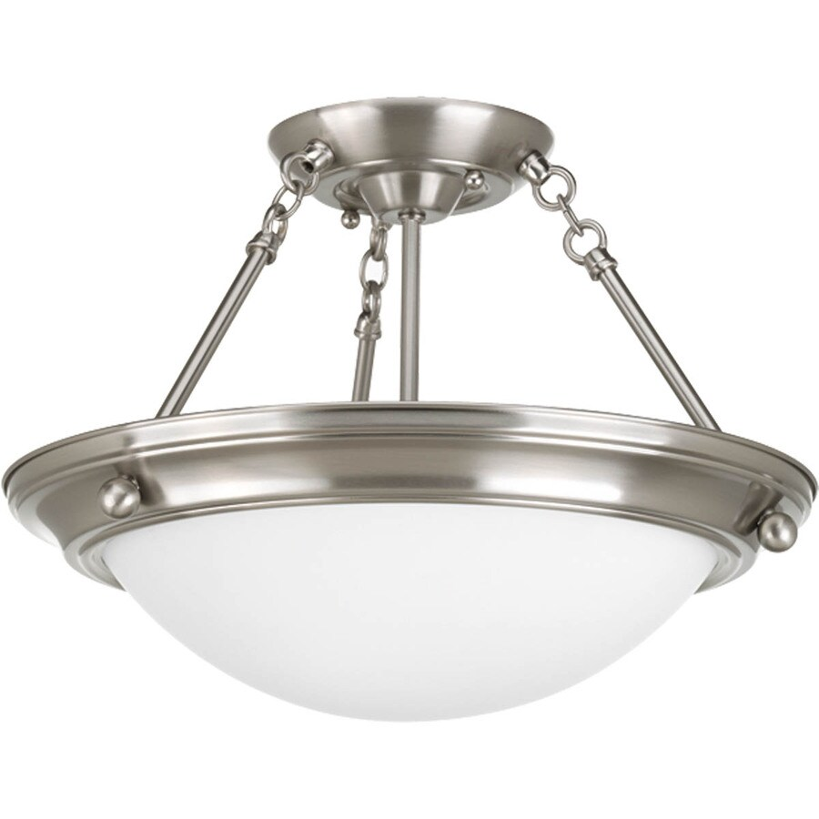 Progress Lighting Eclipse 15.25-in W Brushed Nickel Frosted Glass Semi-Flush Mount Light