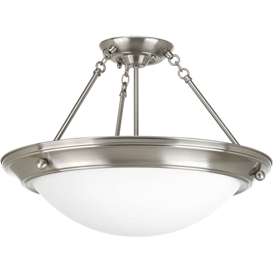 Progress Lighting Eclipse 19.75-in W Brushed Nickel Frosted Glass Semi-Flush Mount Light
