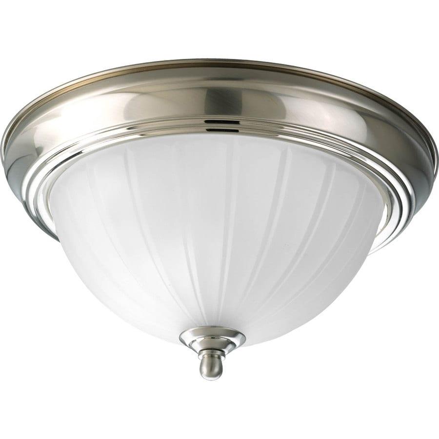 Progress Lighting Melon 11.375-in W Brushed Nickel Ceiling Flush Mount Light