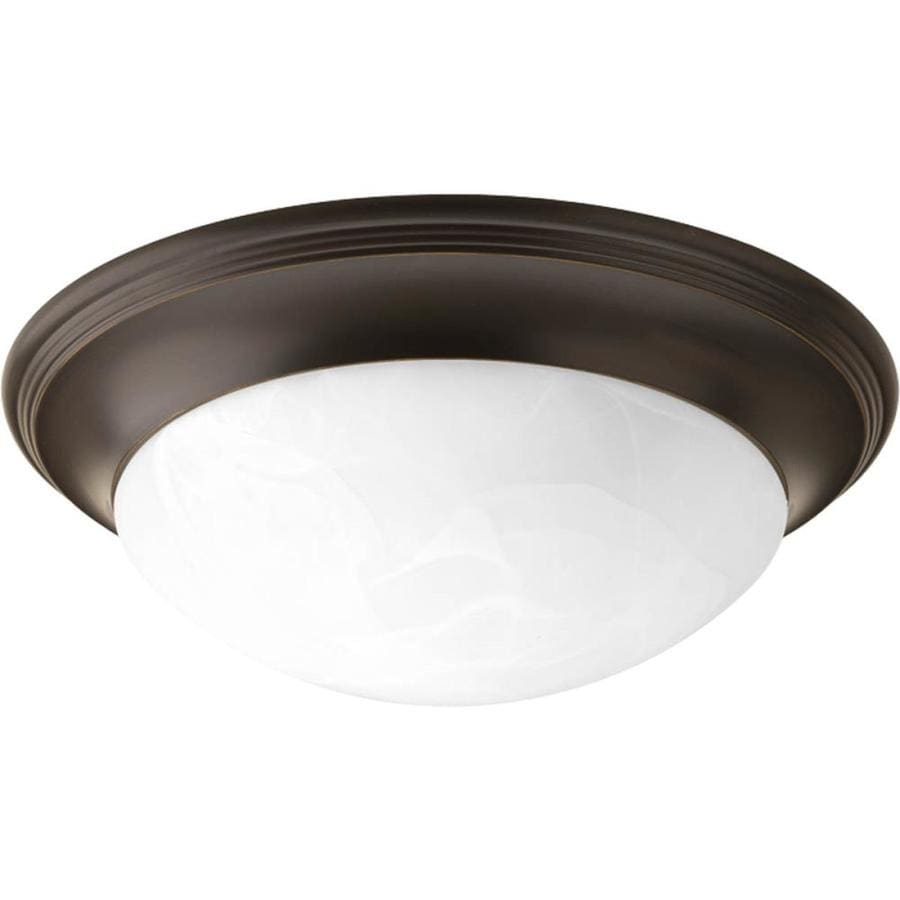 Progress Lighting Alabaster Glass 14-in W Antique Bronze Ceiling Flush Mount Light