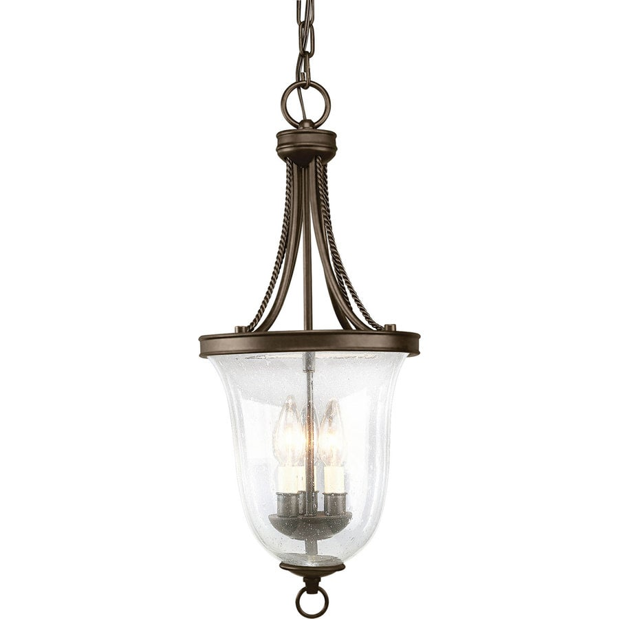 Progress Lighting Seeded Glass 9.75-in 3-Light Antique Bronze Textured Glass Empire Chandelier
