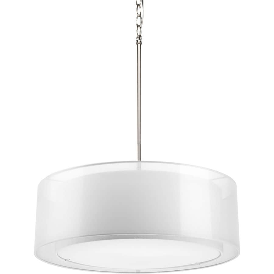 Progress Lighting Cuddle 22-in Brushed Nickel Mini Drum Pendant