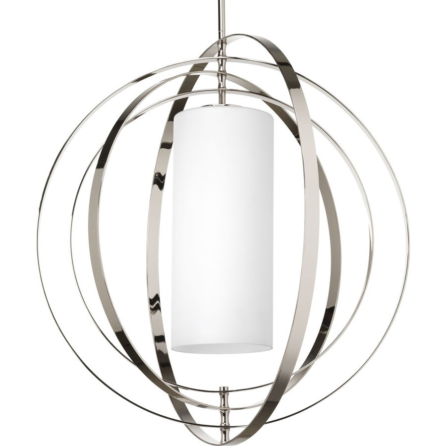 Progress Lighting Equinox 27.75-in Polished Nickel Single Etched Glass Orb Pendant
