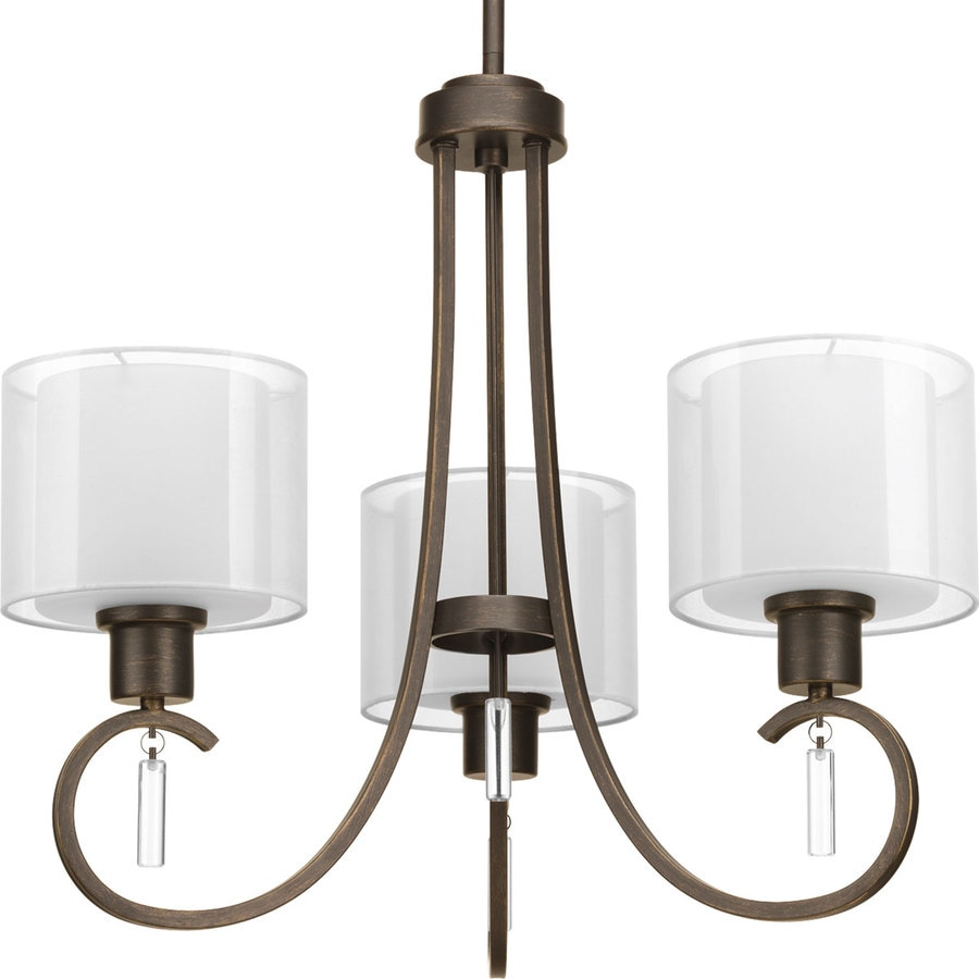 Progress Lighting Invite 22-in 3-Light Antique Bronze Shaded Chandelier