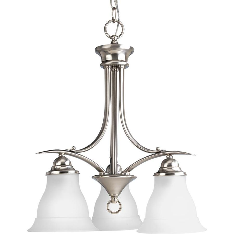 Progress Lighting Trinity 19-in 3-Light Brushed Nickel Etched Glass Shaded Chandelier