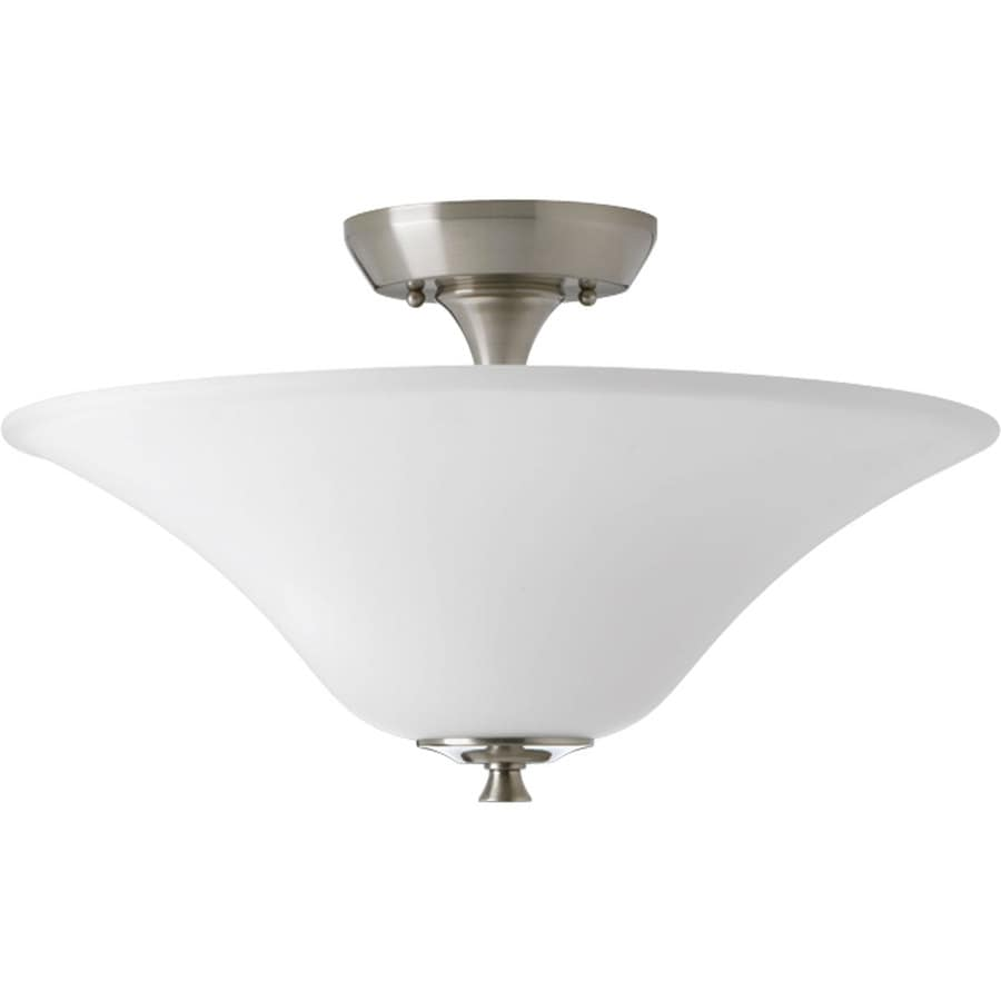 Progress Lighting Cantata 15.75-in W Brushed Nickel Etched Glass Semi-Flush Mount Light