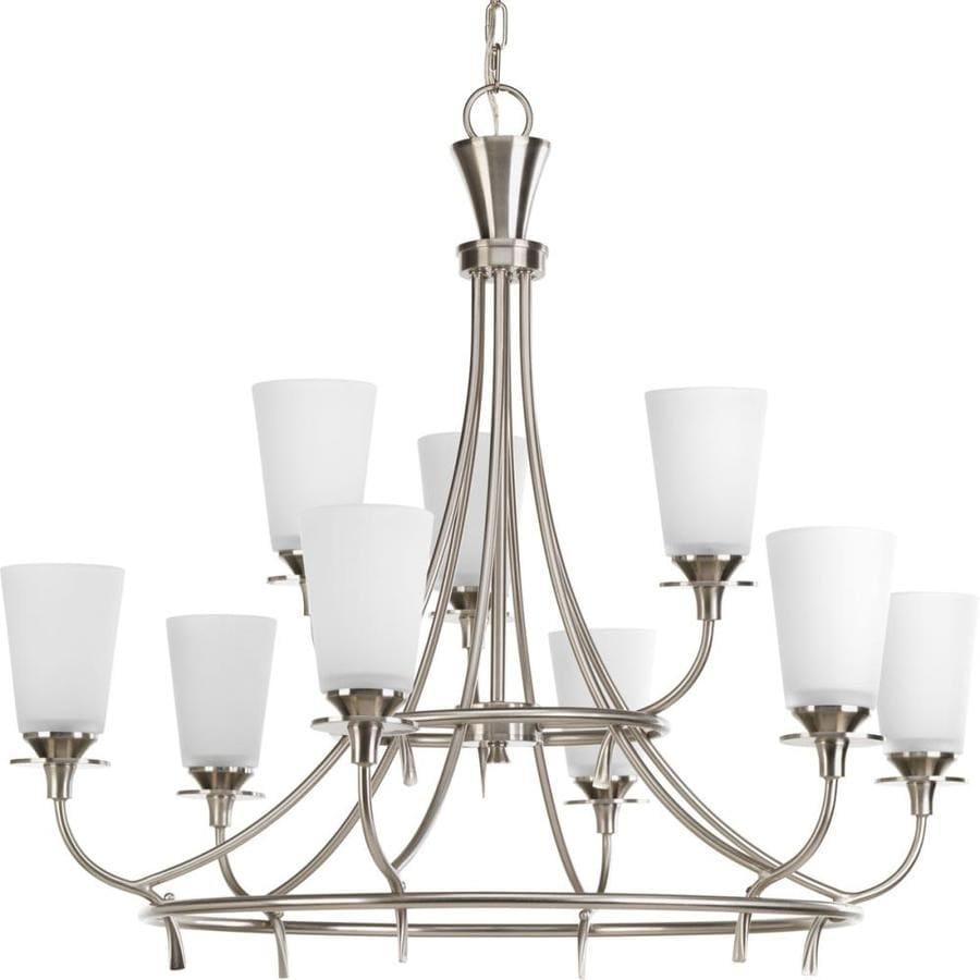 Progress Lighting Cantata 30.75-in 9-Light Brushed Nickel Etched Glass Tiered Chandelier