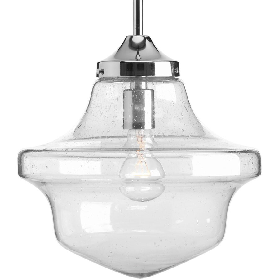 Progress Lighting Schoolhouse 12-in Chrome Single Clear Glass Schoolhouse Pendant