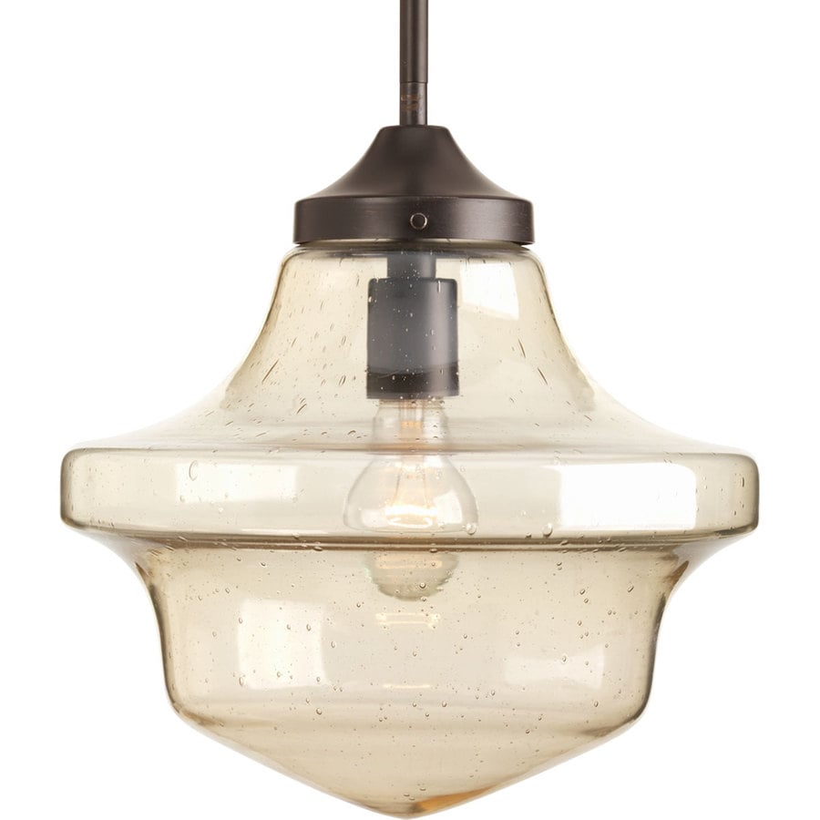 Progress Lighting Schoolhouse 12-in Antique Bronze Single Clear Glass Schoolhouse Pendant