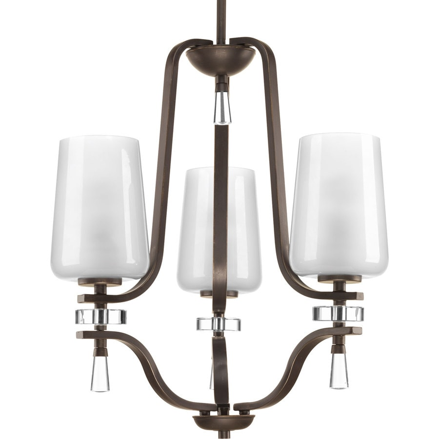 Progress Lighting Indulge 20-in 3-Light Antique Bronze Etched Glass Shaded Chandelier