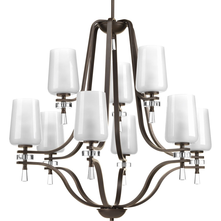 Progress Lighting Indulge 34-in 9-Light Antique Bronze Etched Glass Tiered Chandelier