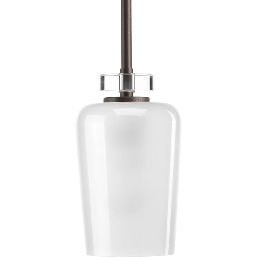 Progress Lighting Indulge 5-in Antique Bronze Mini Clear Glass Bell Pendant