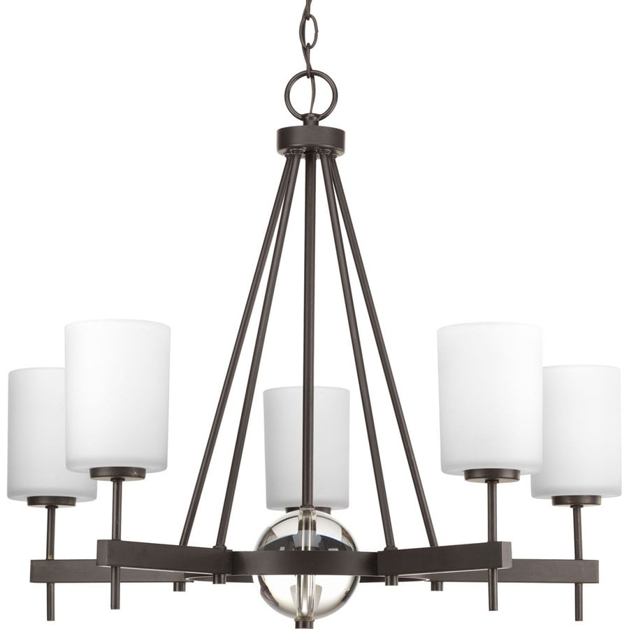 Progress Lighting Compass 28-in 5-Light Antique Bronze Etched Glass Shaded Chandelier