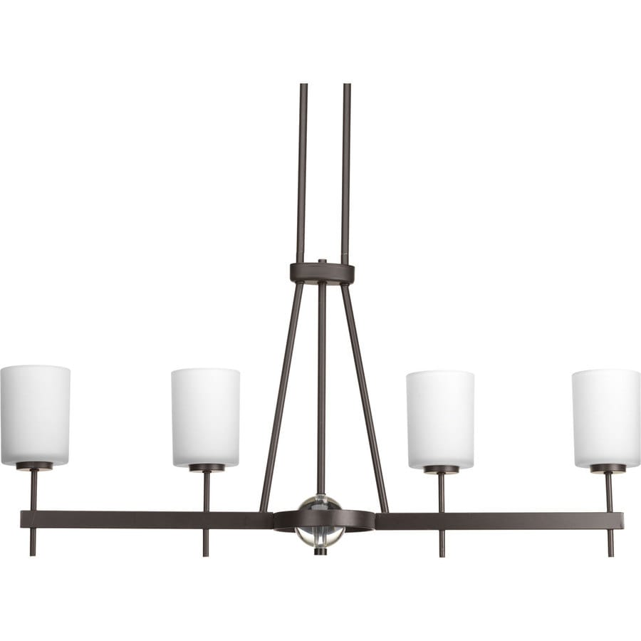Progress Lighting Compass 38-in 4-Light Antique Bronze Etched Glass Shaded Chandelier