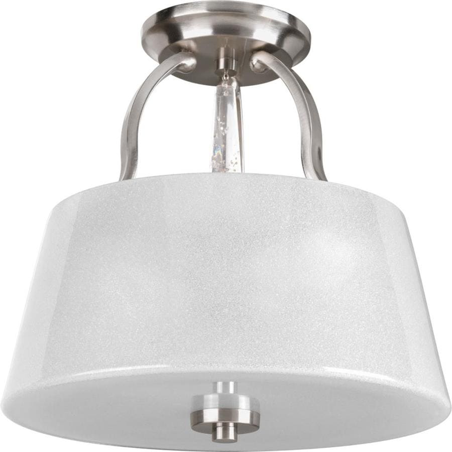 Progress Lighting Dazzle 14-in W Brushed Nickel Frosted Glass Semi-Flush Mount Light