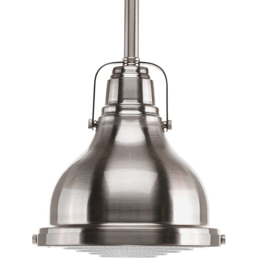 Progress Lighting Fresnel 6.125-in Brushed Nickel Mini Clear Glass Dome Pendant