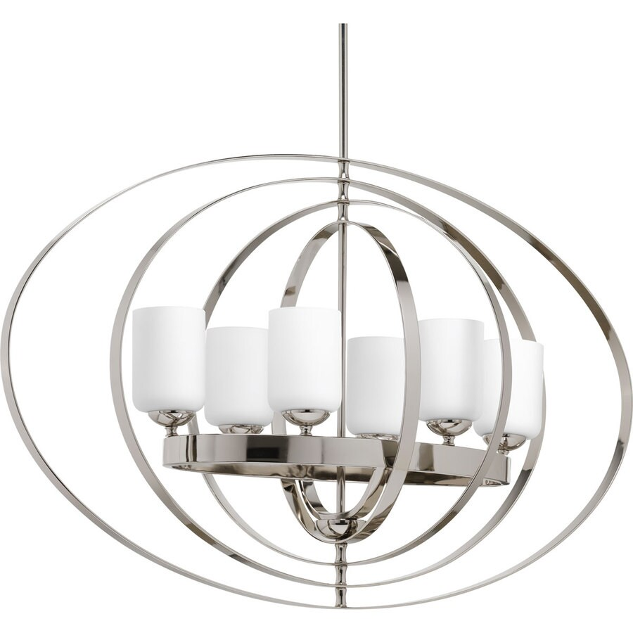 Progress Lighting Equinox 39-in 6-Light Polished Nickel Etched Glass Globe Chandelier