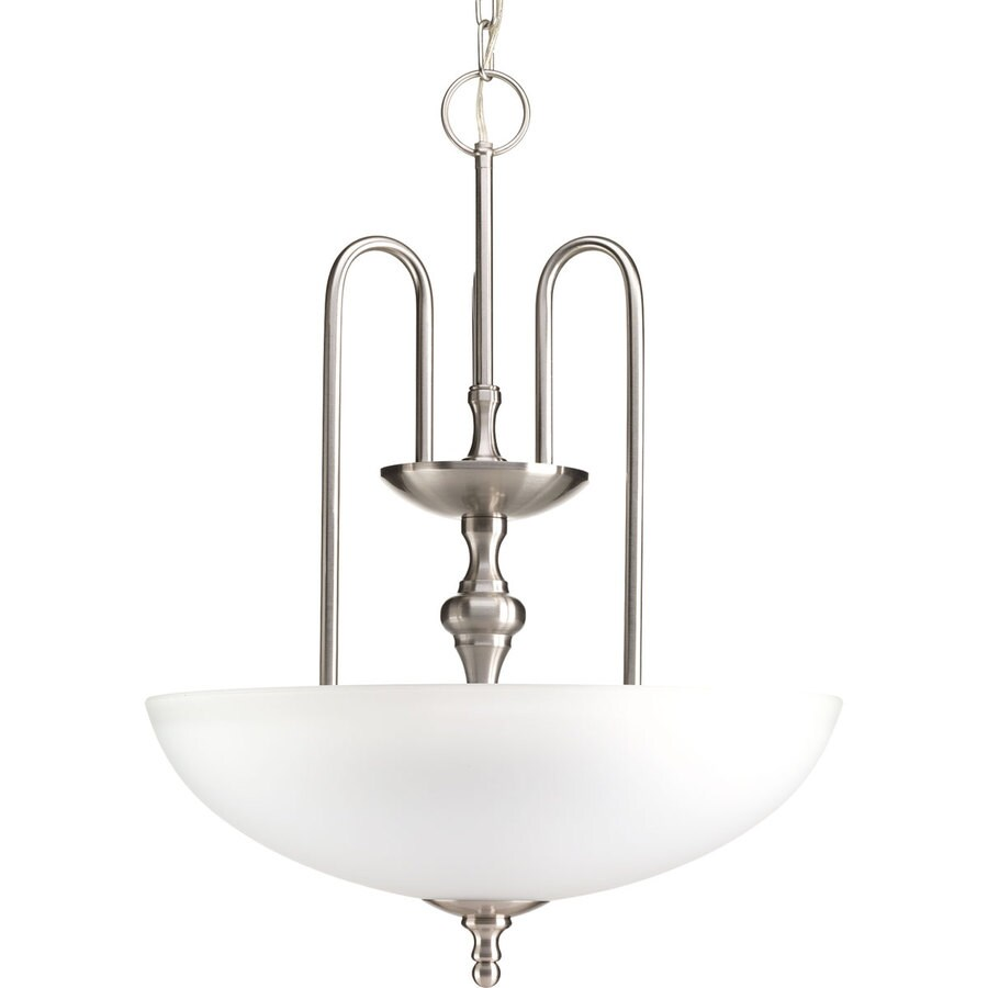 Progress Lighting Revive 17.75-in 3-Light Brushed Nickel Etched Glass Shaded Chandelier
