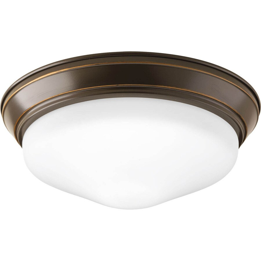 shop progress lighting led flush mount 11 in w antique bronze led ceiling flush mount light at. Black Bedroom Furniture Sets. Home Design Ideas