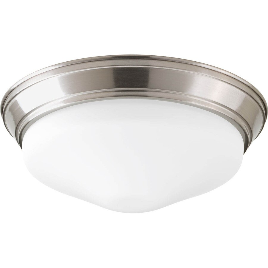 Progress Lighting Led Flush Mount 13.25-in W Brushed Nickel LED Ceiling Flush Mount Light