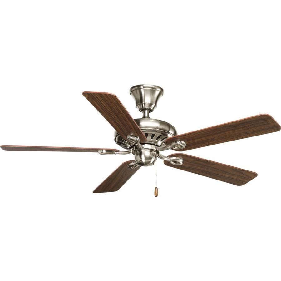 Progress Lighting AirPro Signature 52-in Brushed Nickel Downrod or Close Mount Indoor Ceiling Fan ENERGY STAR