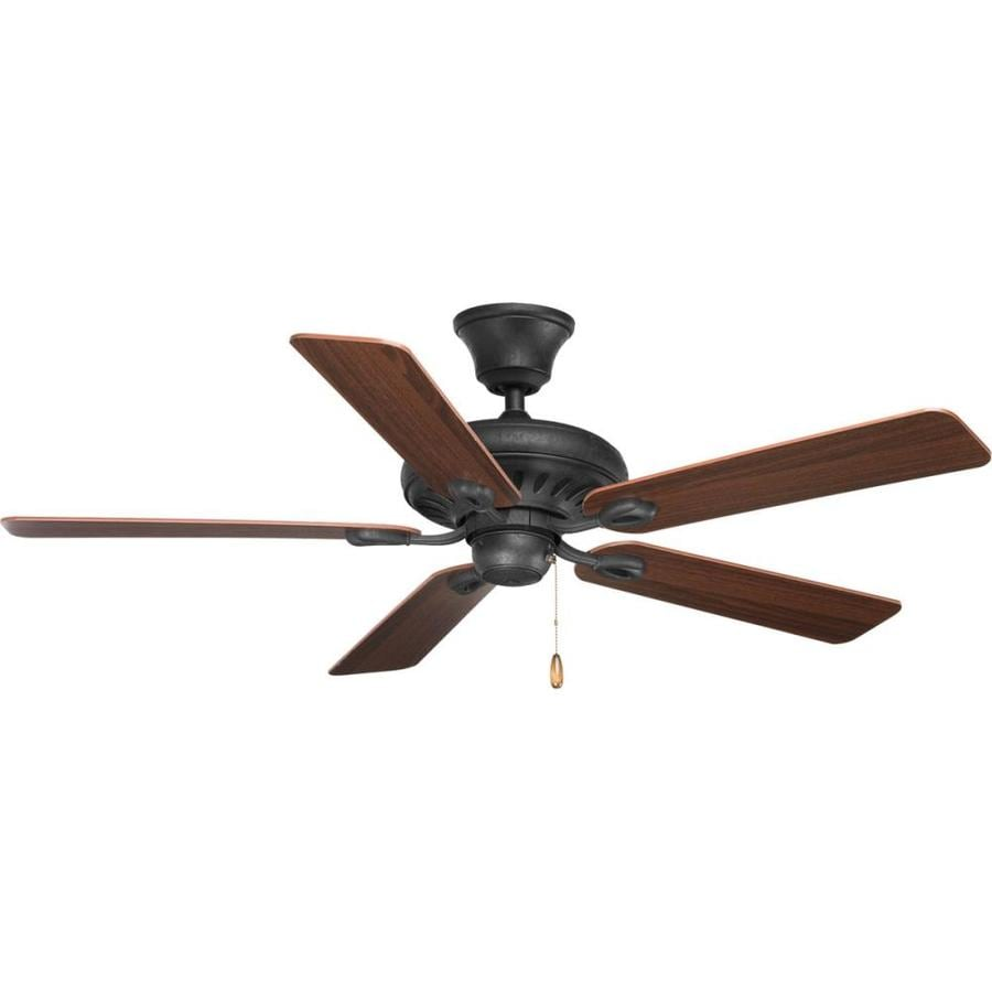 Progress Lighting AirPro Signature 52-in Forged Black Downrod or Close Mount Indoor Ceiling Fan ENERGY STAR