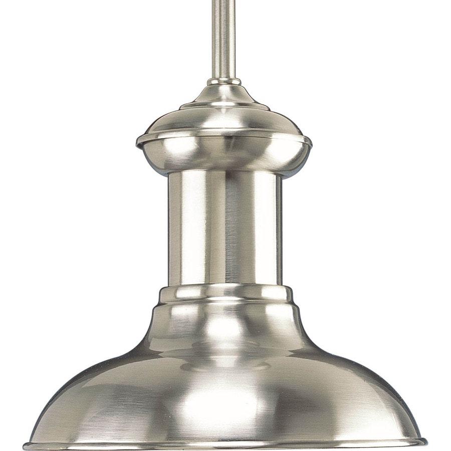 Progress Lighting Brookside 8-in Brushed Nickel Mini Textured Glass Dome Pendant
