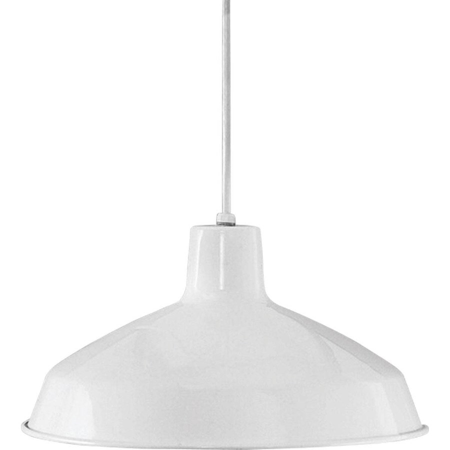 Progress Lighting Metal Shade Pendants 16-in White Mini Textured Glass Bell Pendant