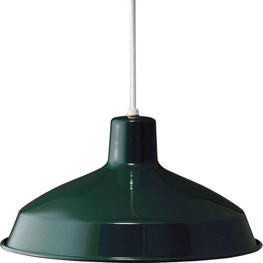 Progress Lighting Metal Shade Pendants 16-in Dark Green Mini Textured Glass Bell Pendant