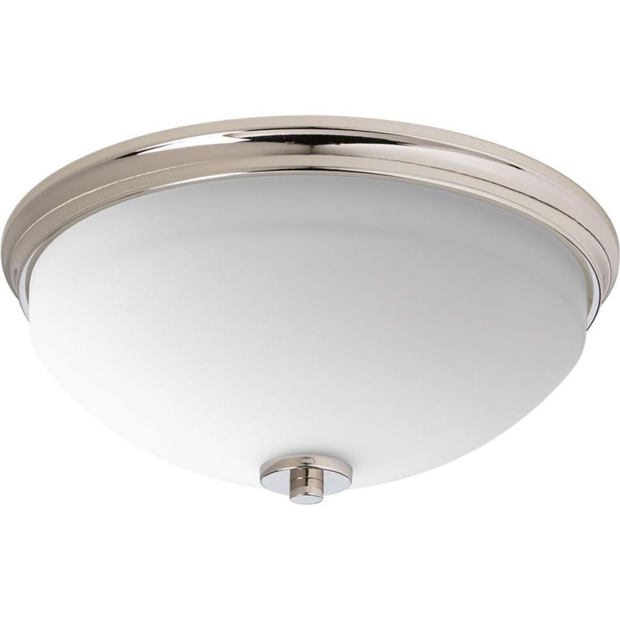 Progress Lighting Replay 14-in W Polished Nickel Ceiling Flush Mount Light