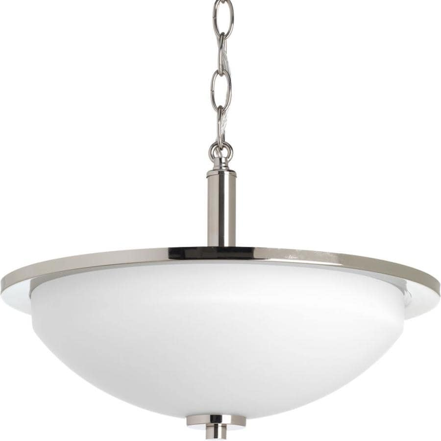 Progress Lighting Replay 14.75-in W Polished Nickel Etched Glass Semi-Flush Mount Light