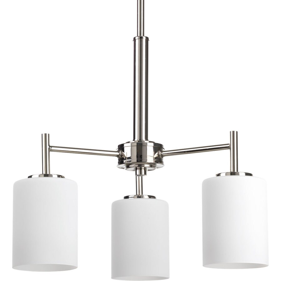 Progress Lighting Replay 17-in 3-Light Polished Nickel Etched Glass Shaded Chandelier