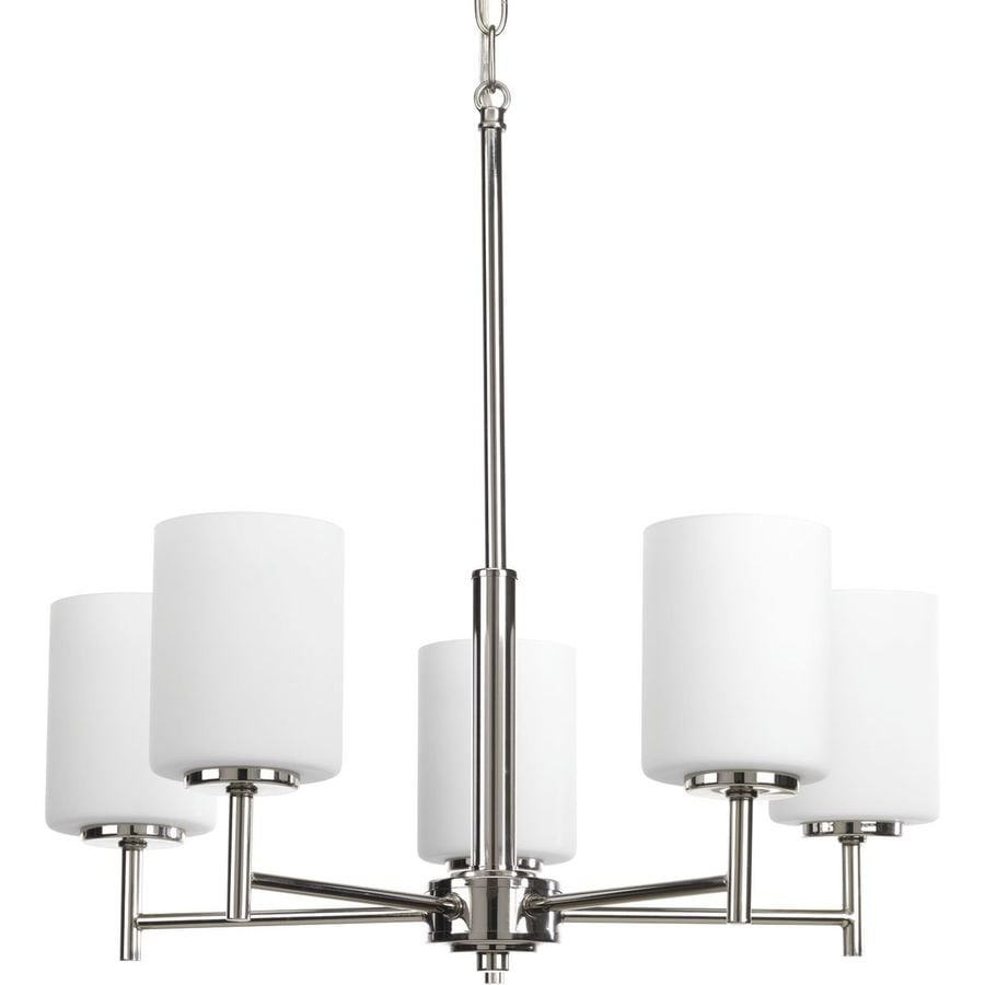 Progress Lighting Replay 21-in 5-Light Polished Nickel Etched Glass Shaded Chandelier