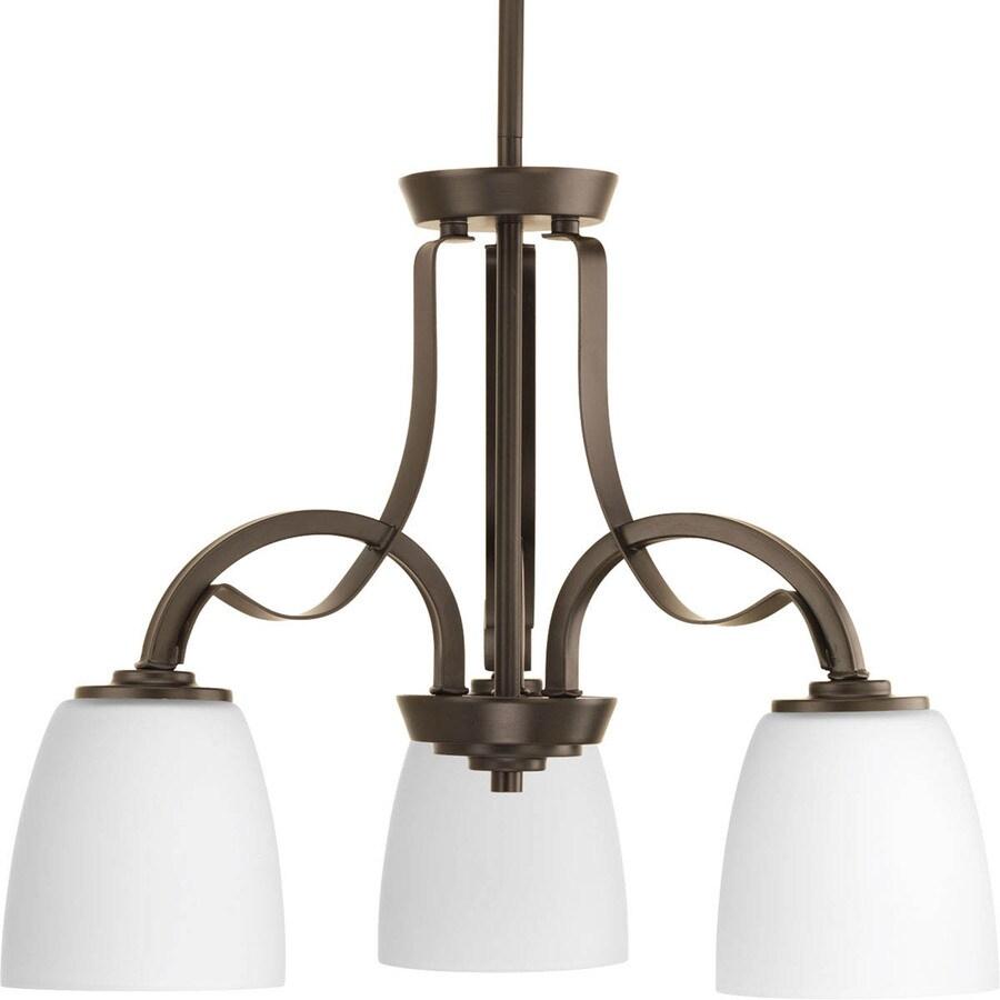 Progress Lighting Merge 20-in 3-Light Antique Bronze Etched Glass Shaded Chandelier