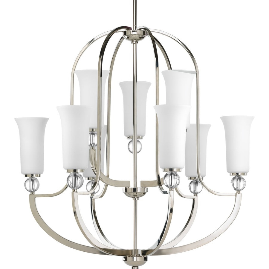 Progress Lighting Elina 30-in 9-Light Polished Nickel Etched Glass Tiered Chandelier