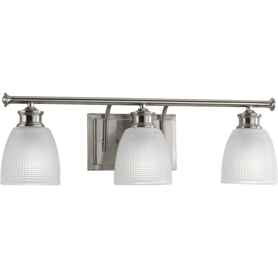 Vanity Lights In Brushed Nickel : Shop Progress Lighting 3-Light Lucky Brushed Nickel Bathroom Vanity Light at Lowes.com
