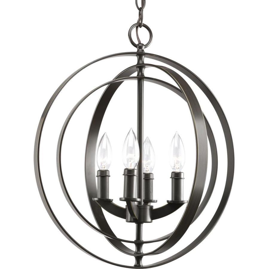 Progress Lighting Equinox 16-in 4-Light Antique Bronze Globe Chandelier