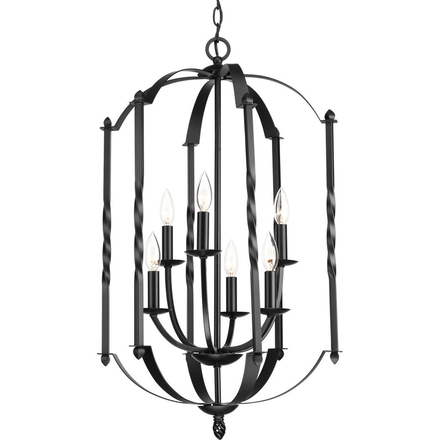 Progress Lighting Greyson 18.25-in 6-Light Black Rustic Candle Chandelier
