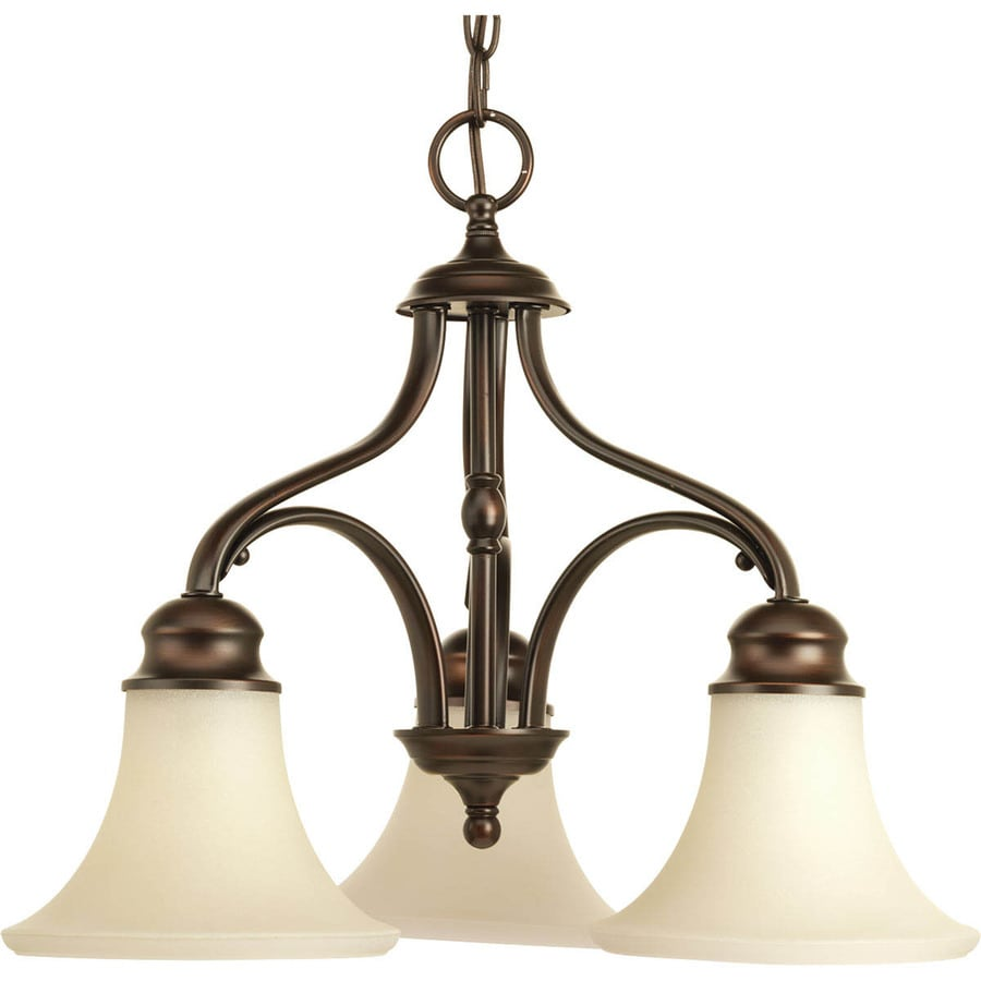 Progress Lighting Applause 20-in 3-Light Antique Bronze Tinted Glass Shaded Chandelier