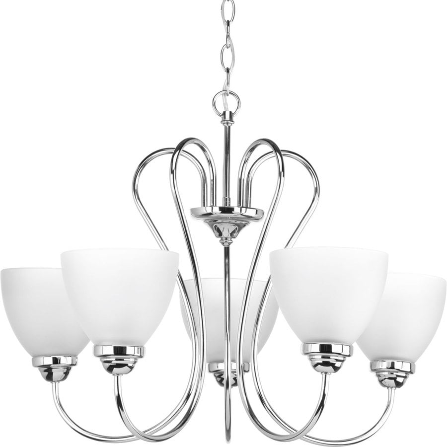 Progress Lighting Heart 25.25-in 5-Light Polished Chrome Etched Glass Shaded Chandelier