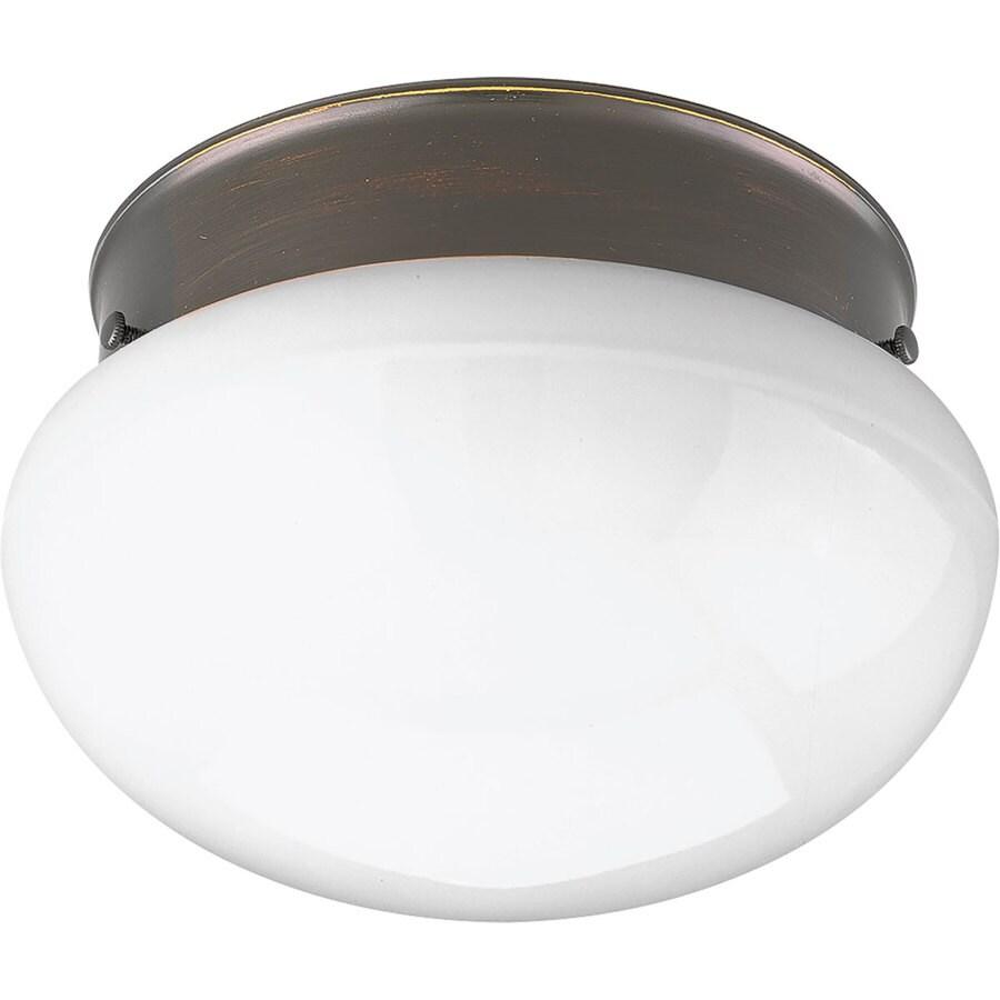 Progress Lighting Fitter White Glass Flush Mount Fluorescent Light ENERGY STAR (Common: 1-ft; Actual: 7.25-in)