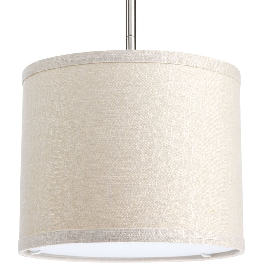 Progress Lighting Markor 8-in H 10-in W Khaki Fabric Cylinder Pendant Light Shade