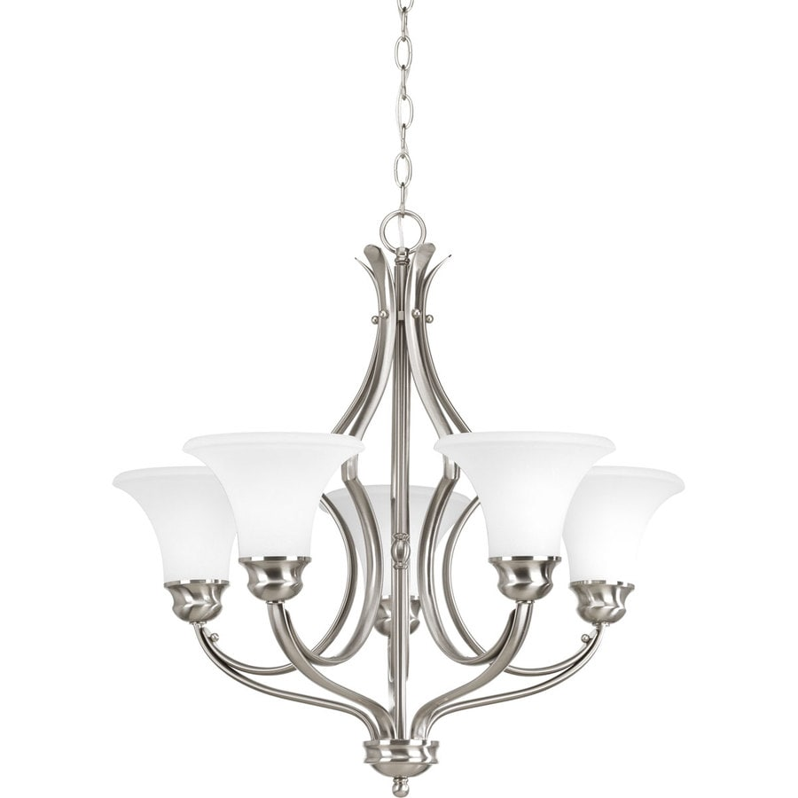 Progress Lighting Applause 24.5-in 5-Light Brushed Nickel Etched Glass Shaded Chandelier