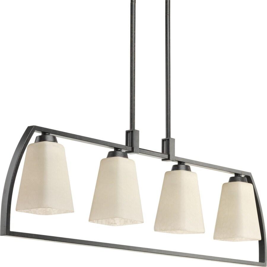 Progress Lighting Ridge 4-in 4-Light Espresso Barn Etched Glass Cage Chandelier
