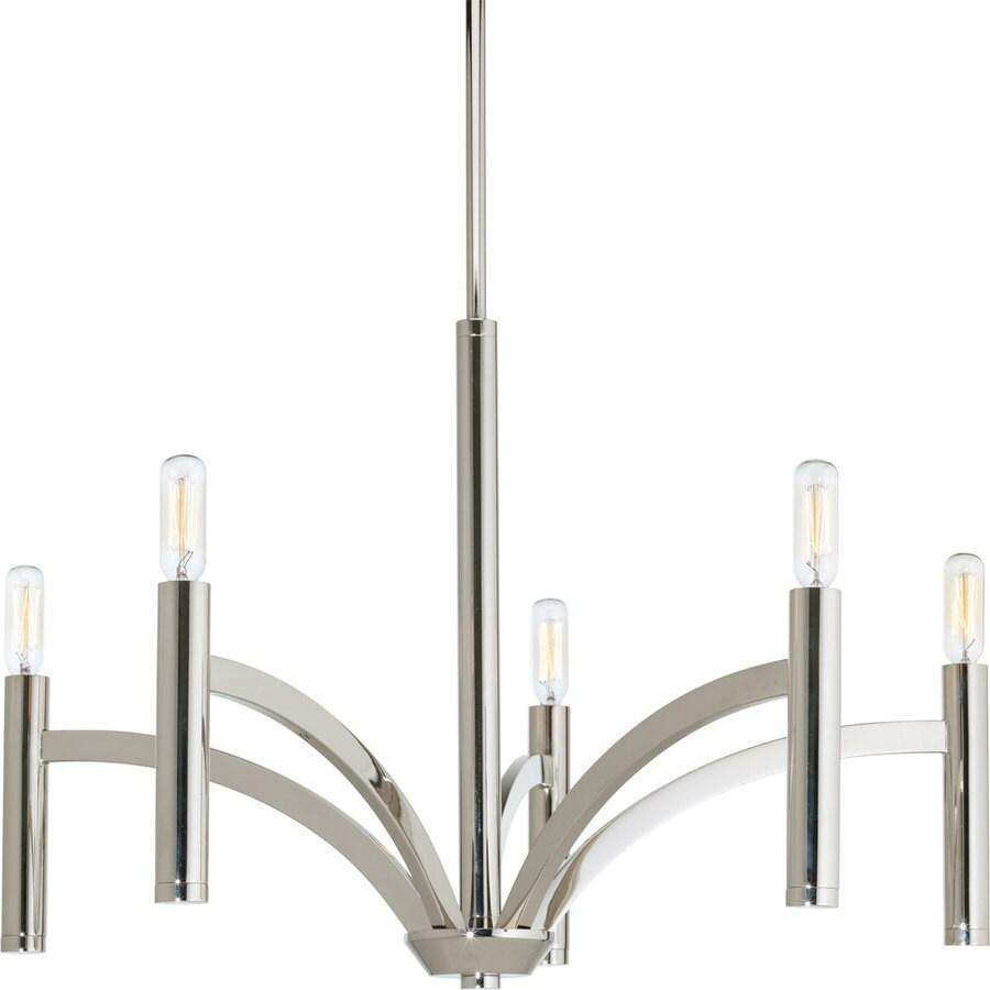 Progress Lighting Draper 25-in 5-Light Polished Nickel Vintage Candle Chandelier