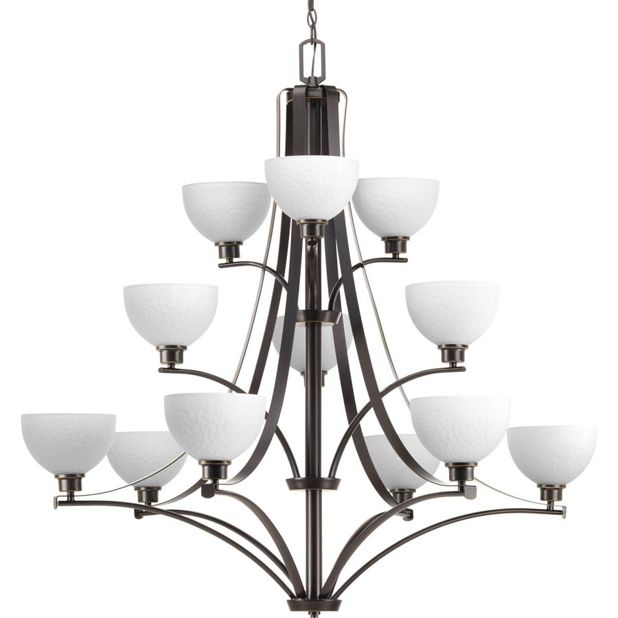 Progress Lighting Legend 44-in 12-Light Antique Bronze Etched Glass Shaded Chandelier