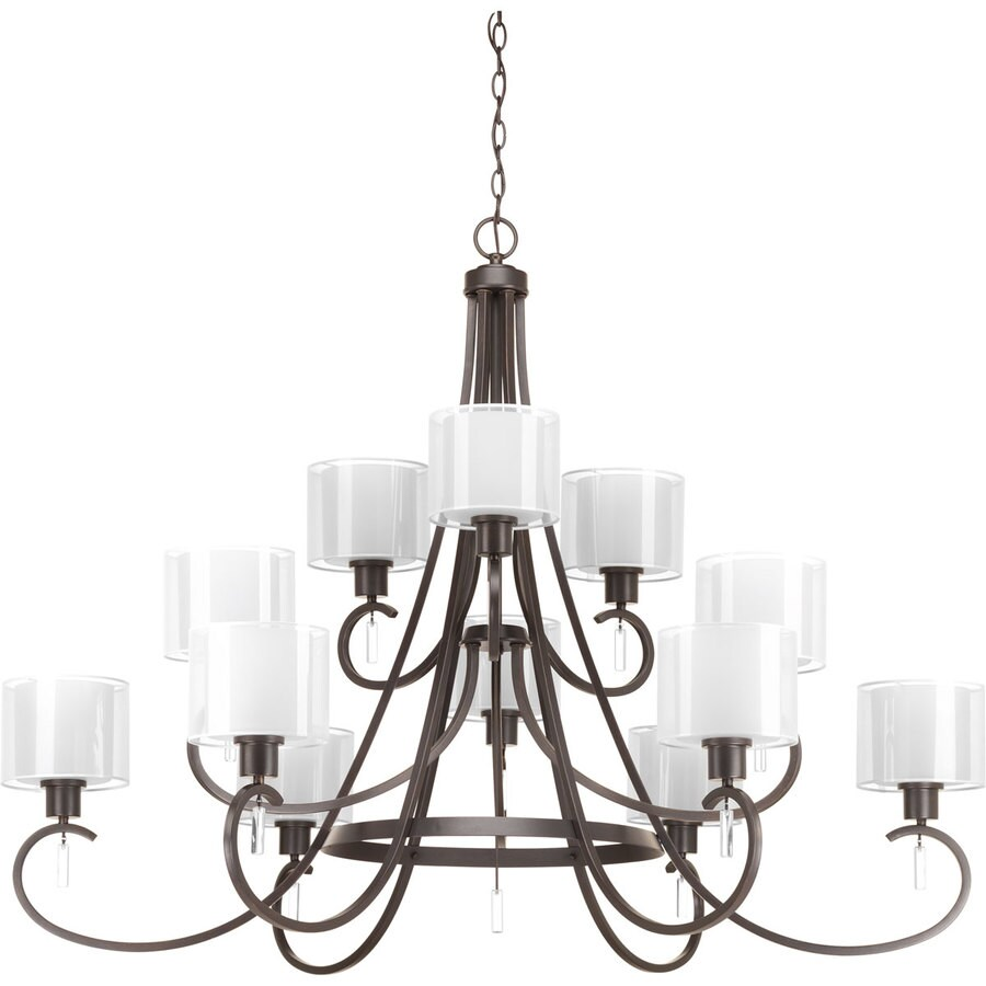 Progress Lighting Invite 49-in 12-Light Antique Bronze Etched Glass Shaded Chandelier
