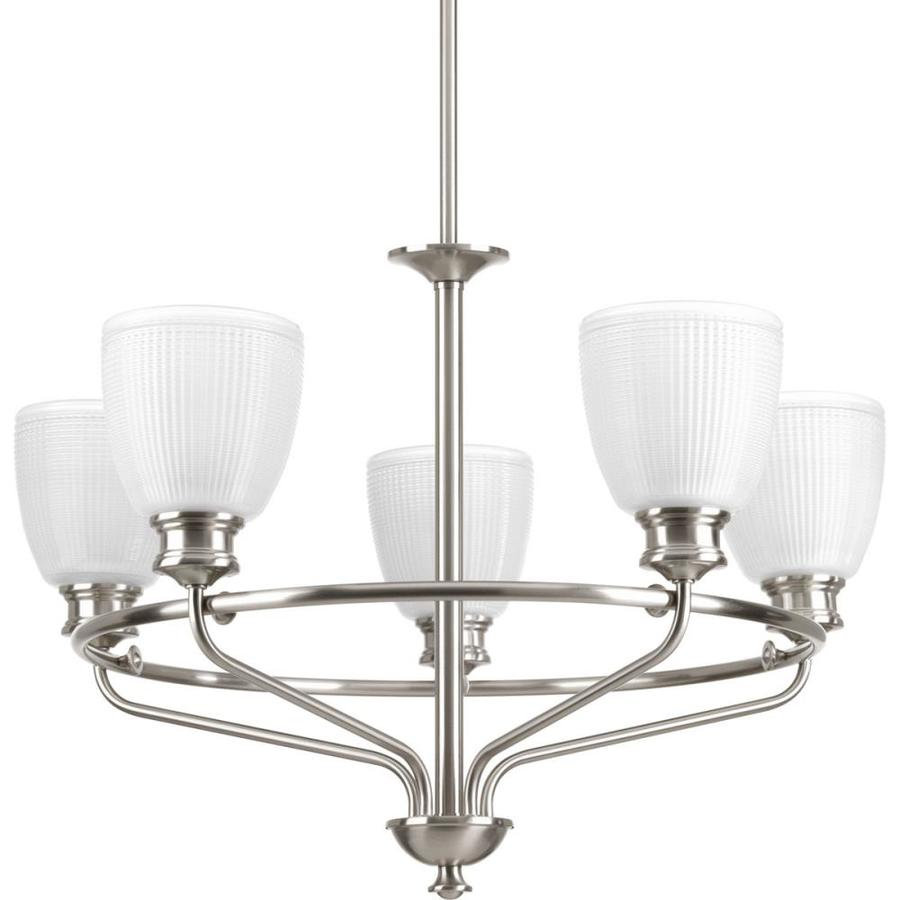 Progress Lighting Lucky 25-in 5-Light Brushed Nickel Textured Glass Shaded Chandelier