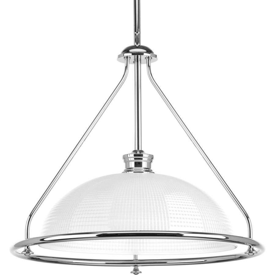 Progress Lighting Lucky 16.25-in 1-Light Polished Chrome Textured Glass Shaded Chandelier